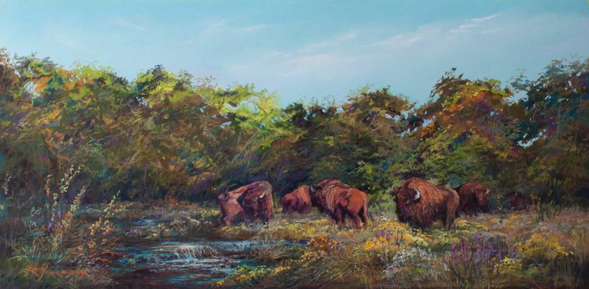 Serendipity, American bison in wildflowers, a landscape painting by Texas artist Lindy C Severns