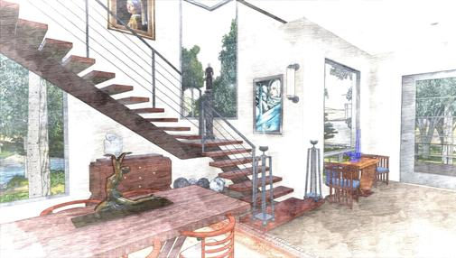 house in flood plain 3DGreenPlanetArchitects.com interior sketch