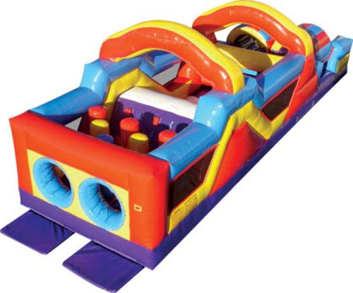 This inflatable obstacle course is ideal for Family Entertainment Centers, corporate events or backyard parties. The Monster Obstacle Course inflatable play structure has a round front-loading obstacle entrance, taking participants through maneuvering pop-ups, over climbs and down the slides for exciting race from start to finish. The inflatable Monster Obstacle Course then ends with a photo-finish pair of tunnels. Each inflatable play structure has mesh windows for easy viewing,
