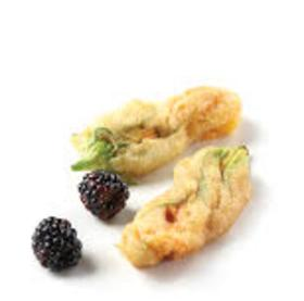 tempura fried squash blossom stuffed with blackberry cheese