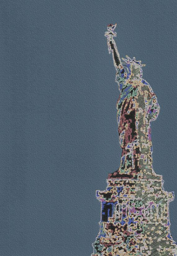 abstract Statue of Liberty on blue pebbly background