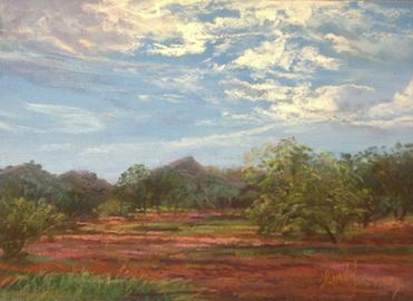 "Davis Mountains Summer, 5"" x 7"" plein air pastel. Miniature original wall art for sale. Lindy C Severns, Fort Davis, TX"