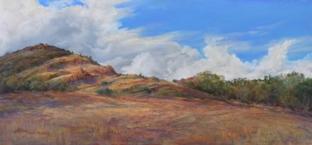 "Breaking the Drought, 10"" x 21"" plein air pastel landscape painting by Fort Davis artist Lindy Cook Severns, Old Spanish Trail Studio"