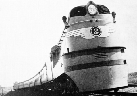 A Class A streamlined steam locomotive, circa 1942.