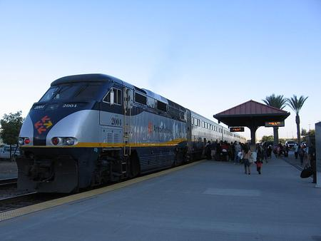 A San Joaquin train at Fresno, California, October 2012.