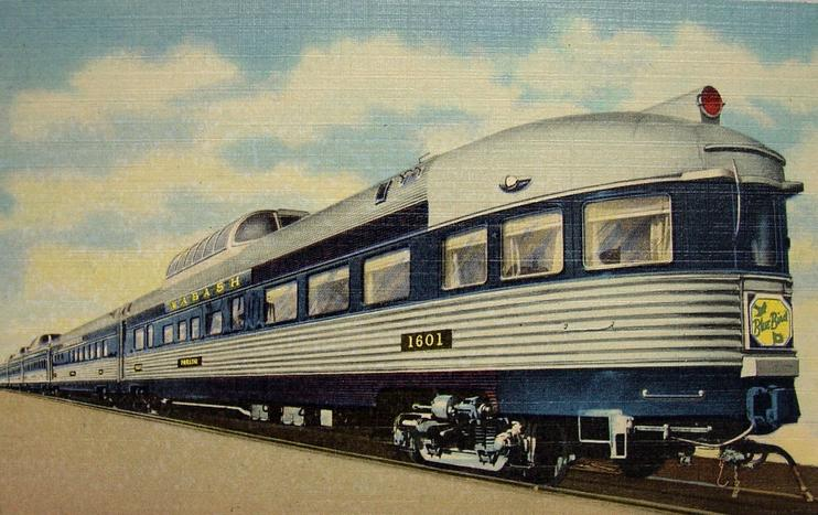 The Blue Bird's Vista-Dome parlor-observation car, circa 1950s.