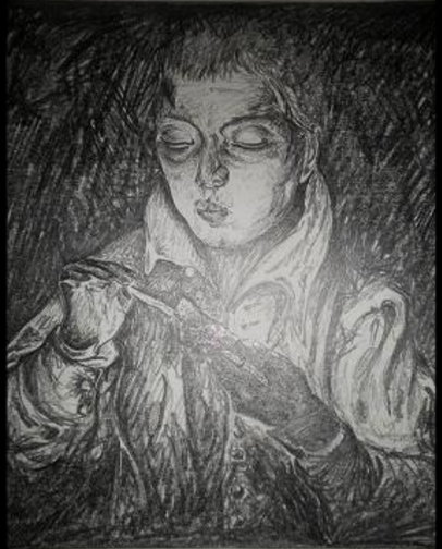 A Boy blowing on an ember to light a candle - after El Greco. Original pencil drawing on paper. Orfhlaith Egan Irish Artist based in Berlin.