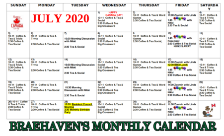 Braehaven Calendar of Events for July 2020