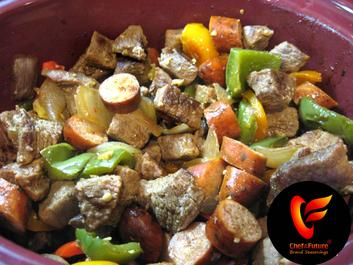 Stew Beef-Sausage-Peppers and Onions ready for Seasoning-Chef of the Future-Your Source for Quality Seasoning Rubs