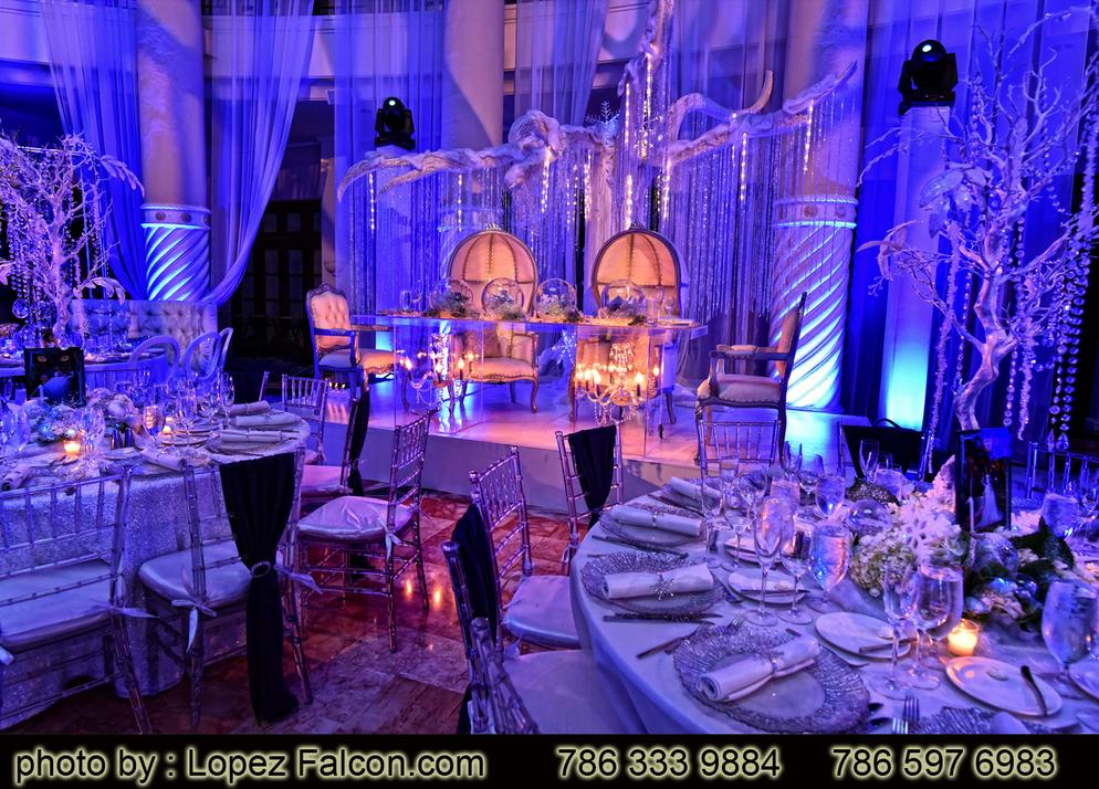Winter wonderland quinceanera Parties quince stage decoration Photography Video