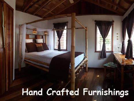 A queen sized bed welcomes honeymooners to the Bamboo Bungalow. All Inclusive Vacations!
