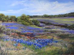 From Texas With Love, pastel landscape painting by Lindy Cook Severns of Texas Hill Country bluebonnets