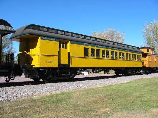 A combine car on display at the Mid-Continent Railway Museum in North Freedom, Wisconsin.