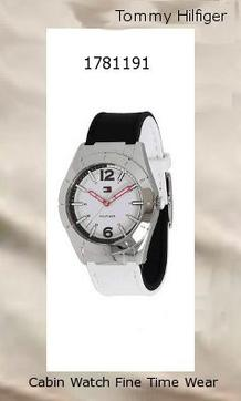 Watch Information Brand, Seller, or Collection Name Tommy Hilfiger Model number 1781191 Part Number 1781191 Item Shape Round Dial window material type Mineral Display Type Analog Clasp Buckle Case material Stainless steel Case diameter 38 millimeters Case Thickness 10 millimeters Band Material Silicone Band length Women's Standard Band width 19 millimeters Band Color Black/White Dial color Brushed stainless steel silver-tone case Bezel material Stainless steel Special features Analog Movement Japanese quartz Water resistant depth 30