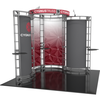 Cygnus orbital express 10x10 truss trade show booth exhibit left side view.