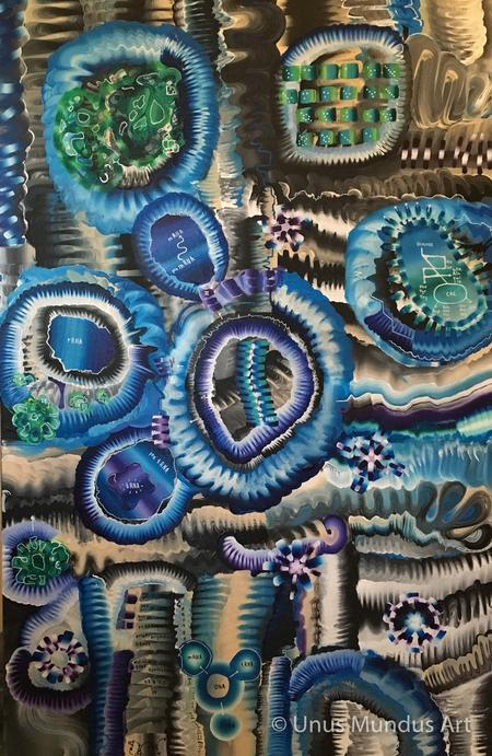 A CELL IS NOT A MACHINE, inspired by the genetic revolution, abstract wall art, art decor, interior design, Unus Mundus Art by St. Louis Artist Jasmine Raskas