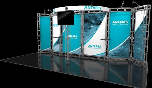 Antares 10x20 Orbital Truss trade show booth exhibit right side.