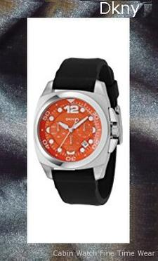 DKNY Silicone Collection Black Strap Orange Dial Men's watch #NY1446