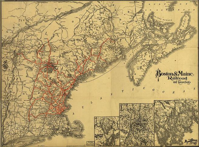 A map of the Boston & Maine system in 1898.