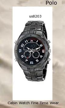 Watch Information Brand, Seller, or Collection Name U.S. Polo Assn. Model number US8203 Part Number US8203 Model Year 2014 Item Shape Round Dial window material type Glass Display Type Analog and digital Clasp Push-Button Clasp Case material Metal Case diameter 45 millimeters Case Thickness 15 millimeters Band Material alloy Band length Men's Standard Band width 23 millimeters Band Color Silver Dial color Black Bezel material Metal Bezel function Stationary Calendar Day, date, and month Movement Analog quartz