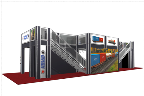 Gina rail 20 x 60 double deck trade show booth side view.