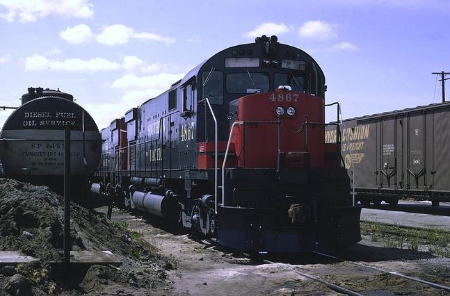 Southern Pacific ALCO C628 No. 4867 at SP's Lenzen St. Engine facility in San Jose, California. August 1965.