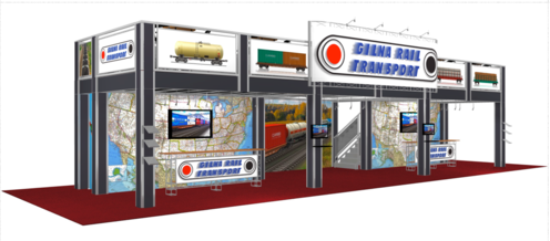 Gina rail 20 x 60 double deck trade show booth front view.