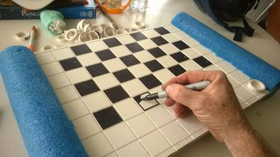 DIY floating chess or checkers board