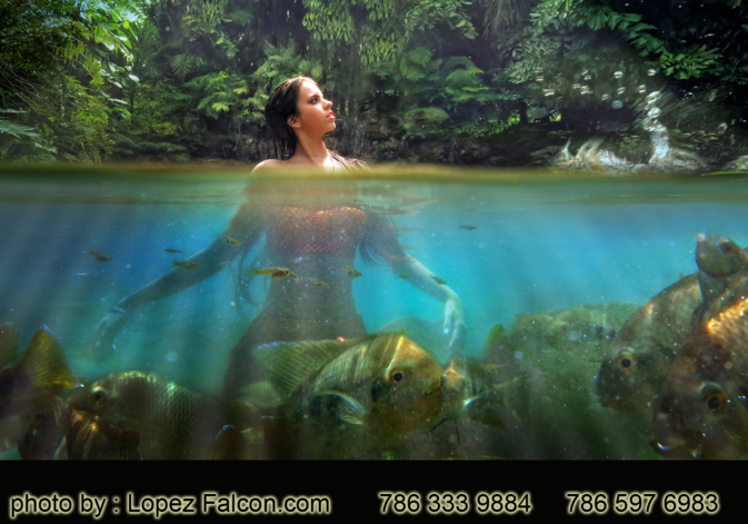 Quinces Mermaid Miami photo shoot video photography secret gardens Quinceanera mermaid USA