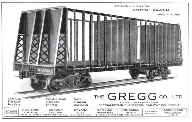 A builder's photo of a sugarcane car built by Gregg Company and used in an advertisement for the manufacturer.