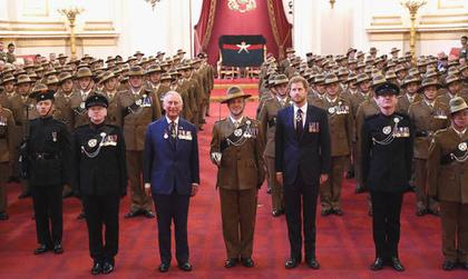 Gurkhas with Prince Charles and Prince Harry - for a new book by Craig Lawrence