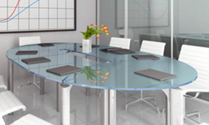 Picture of custom glass top in a conference room