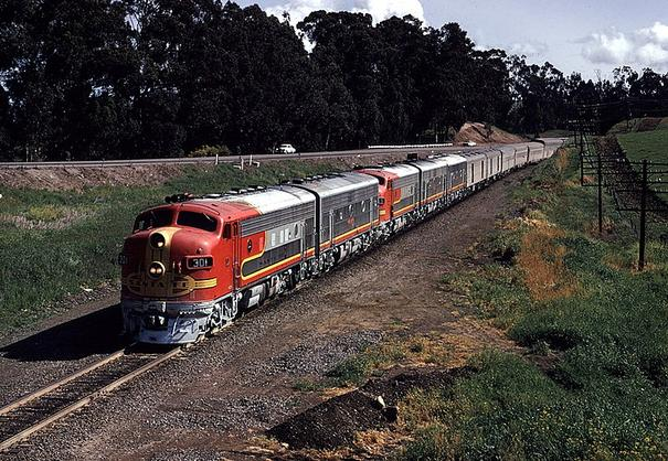 EMD F7s lead the San Francisco Chief west of Hercules, California