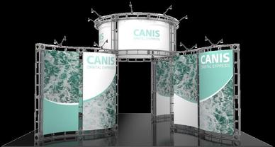 Canis Orbital Express Truss 20 x 20 exhibit booth full set up.