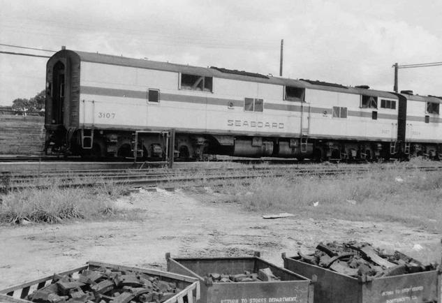 Seaboard Air Line (SAL) EMD E7-B No. 3107 at Hileah, Florida in 1960.