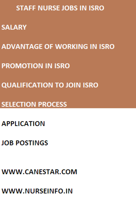 staff nurse jobs in ISRO and procedure