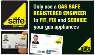 Only use a GAS SAFE REGISTERED ENGINEER to FIT, FIX and SERVICE your gas appliances