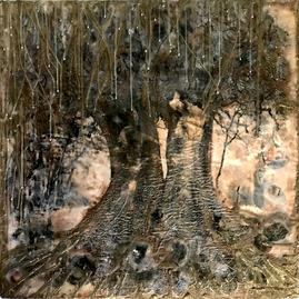 encaustic, painting, trees, botanical, love, bronze, gold, monocromatic