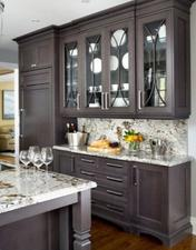 Dark wood french kitchen cabinets Long Beach