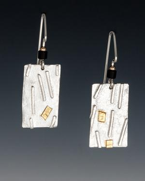 Carol Holaday - fused design earring - with 23k keys-boo