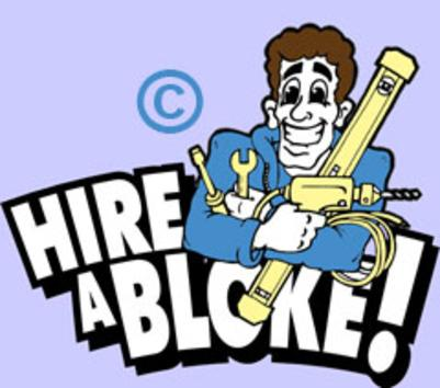 cartoon logo hire a bloke handy man