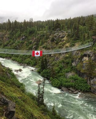 Yukon Suspension Bridge in Canada is a fun add on to a private tour by Beyond Skagway Tours out of Skagway Alaska.