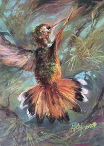 The Sky's Conductor pastel miniature hummingbird art Lindy C Severns, Fort Davis TX