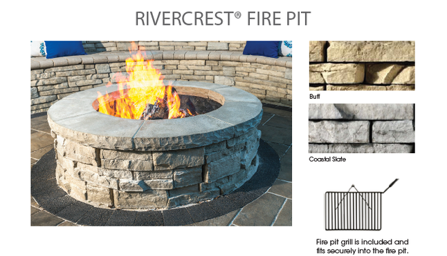 Unilock Rivercrest Fire Pit Kit with Cooking Grate