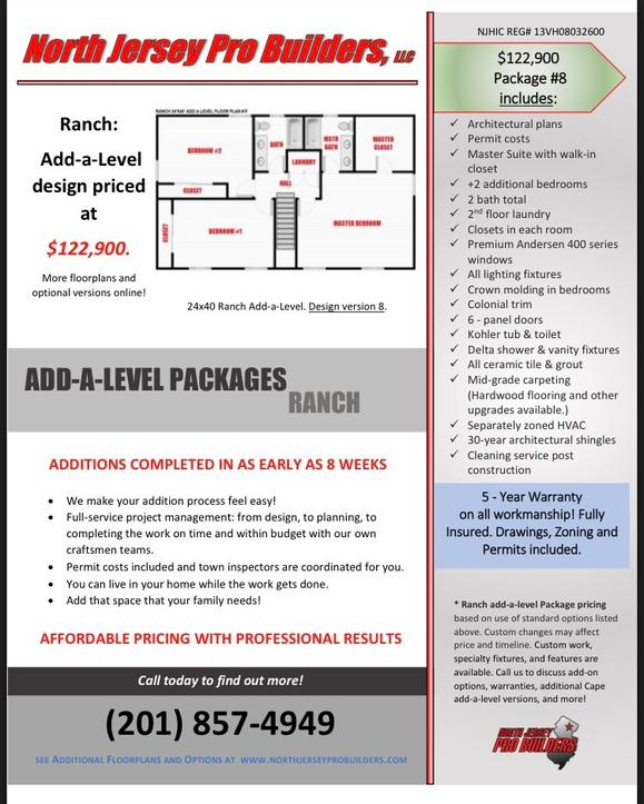 North Jersey Pro Builders | Ranch add-a-level floor plan 8