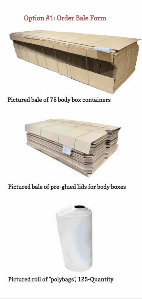 ORDER: bale of body box containers