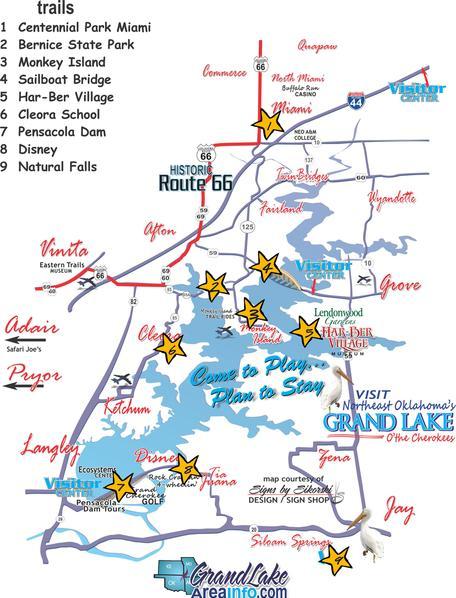 Jay Oklahoma Map.Grand Lake Ok Walking Hiking Biking Trails Grove Cleora Monkey