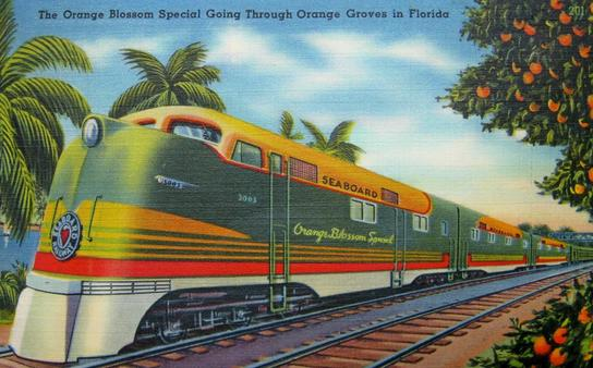 Postcard depiction of the Seaboard Air Line Railroad train The Orange Blossom Special which traveled between New York and Miami.