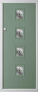4 square composite door in chartwell green