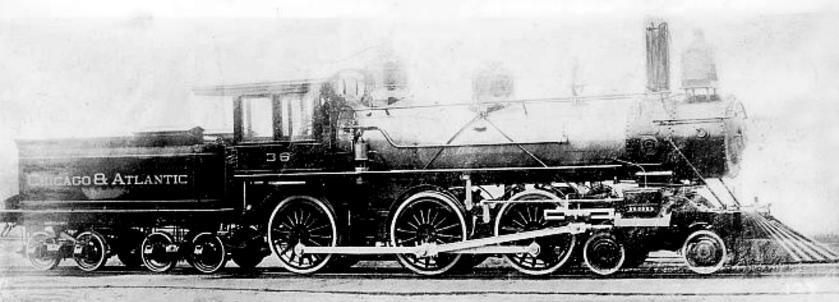 Chicago and Atlantic No. 36, a 4-6-0 built by Brooks in 1889.